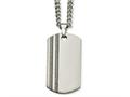 Chisel Tungsten Polished and Carbon Fiber Dog Tag Necklace