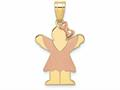 The Kids® Small Girl with Bow on Right Engraveable Charm / Pendant Necklace