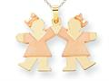 The Kids® Small Double Girls Engraveable Charm / Pendant Necklace