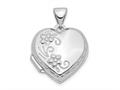 Finejewelers 14k White Gold Polished Heart-shaped Reversible Floral Locket Pendant Necklace 18 inch chain included