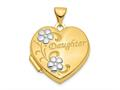 Finejewelers 14k and Rhodium Daughter Floral 18mm Heart Locket Pendant Necklace 18 inch chain included