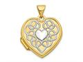 Finejewelers 14k 18mm Heart Rhodium Heart Of Gold Locket Pendant Necklace 18 inch chain included