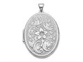 Finejewelers 14k White Gold 32mm Oval Flower With Scrolls Locket Pendant Necklace 18 inch chain included