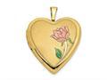 Finejewelers 14k 20mm Enamel Rose Heart Locket Pendant Necklace 18 inch chain included