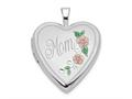 Finejewelers 14k 20mm White Gold Enamel Flowers Mom Heart Locket Pendant Necklace 18 inch chain included