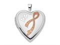 Finejewelers 14k 20mm White Gold Enamel Breast Cancer W/ Hearts Heart Locket Pendant Necklace 18 inch chain included