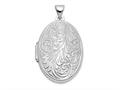 Finejewelers 14k White Gold Scroll Oval Locket Pendant Necklace 18 inch chain included