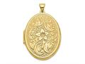 Finejewelers 14k 32mm Oval Flower With Scrolls Locket Pendant Necklace 18 inch chain included