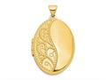 Finejewelers 14k 26mm Oval 1/2 Hand Engraved Locket Pendant Necklace 18 inch chain included