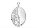 Finejewelers 14k White Gold 26mm Oval 1/2 Hand Engraved Locket Pendant Necklace 18 inch chain included