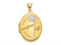 Finejewelers 14k W/rhodium 21mm Oval Daughter Locket Pendant Necklace 18 inch chain included
