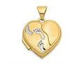 Finejewelers 14k W/rhodium 15mm Heart Foot Prints Locket Pendant Necklace 18 inch chain included