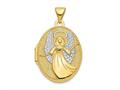 Finejewelers 14k W/rhodium 21mm Oval Guardian Angel Locket Pendant Necklace 18 inch chain included