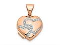Finejewelers 14k Rose Gold W/rhodium 12mm Heart Locket Pendant Necklace 18 inch chain included