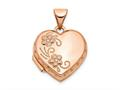 Finejewelers 14k Rose Gold 15mm Domed Heart Locket Pendant Necklace 18 inch chain included