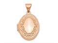 Finejewelers 14k Rose Gold 17mm Scroll Oval Locket Pendant Necklace 18 inch chain included