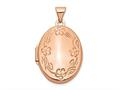 Finejewelers 14k Rose Gold 21mm Oval Leaf Floral Scroll Border Locket Pendant Necklace 18 inch chain included