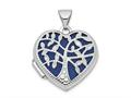 Finejewelers 14k White Gold 18mm Heart W/tree Locket Pendant Necklace 18 inch chain included