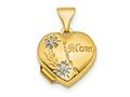 Finejewelers 14k and Rhodium Polished Floral Mom Heart Locket Pendant Necklace 18 inch chain included