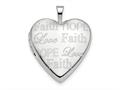 Finejewelers 14k White Gold 20mm Love, Faith, Hope Heart Locket Pendant Necklace 18 inch chain included