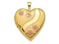 Finejewelers 14k 20mm Pink Enameled Flowers Heart Locket Pendant Necklace 18 inch chain included