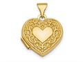 Finejewelers 14k Polished Fancy Scroll Design Front and Back 15mm Heart Locket Pendant Necklace 18 inch chain included