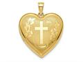 Finejewelers 14k 24mm Bright Cut Cross Ash Holder Heart Locket Pendant Necklace 18 inch chain included