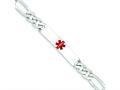 Finejewelers Sterling Silver Polished Medical Figaro Anchor Link Id Bracelet
