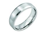 <b>Engravable</b> Chisel Cobalt Beveled Edge Satin 6mm Weeding Band style: CC13
