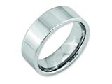 <b>Engravable</b> Chisel Cobalt Flat Polished 8mm Weeding Band style: CC23