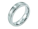 <b>Engravable</b> Chisel Cobalt Satin And Polished Ridged Edge 6mm Wedding Band style: CC34