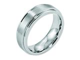<b>Engravable</b> Chisel Cobalt Satin And Polished Ridged Edge 7mm Weeding Band style: CC35