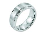 <b>Engravable</b> Chisel Cobalt Satin And Polished Ridged Edge 8mm Weeding Band style: CC36