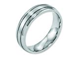<b>Engravable</b> Chisel Cobalt Polished And Satin Grooved 6mm Weeding Band style: CC37