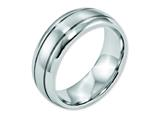 <b>Engravable</b> Chisel Cobalt Polished And Satin Grooved 8mm Wedding Band style: CC38