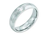 <b>Engravable</b> Chisel Cobalt Satin And Polished Grooved 6mm Weeding Band style: CC39