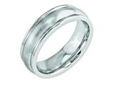 <b>Engravable</b> Chisel Cobalt Satin 7mm Rounded Edge Weeding Band style: CC41
