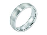 <b>Engravable</b> Chisel Cobalt Sterling Silver Inlay Satin 6mm Weeding Band style: CC43