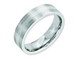 <b>Engravable</b> Chisel Cobalt Sterling Silver Inlay Satin 6mm Flat Wedding Band style: CC45