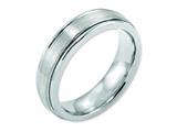<b>Engravable</b> Chisel Cobalt Sterling Silver Inlay Satin And Polished 6mm Wedding Band style: CC46