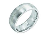 <b>Engravable</b> Chisel Cobalt Sterling Silver Inlay Satin 8mm Weeding Band style: CC47