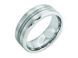 <b>Engravable</b> Chisel Cobalt Sterling Silver Inlay Satin/polished Beveled Edge 8mm Weeding Band style: CC48