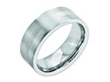 <b>Engravable</b> Chisel Cobalt Sterling Silver Inlay Satin 8mm Flat Wedding Band style: CC49