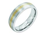 Chisel Cobalt 14k Gold Inlay Satin 6mm Weeding Band style: CC51