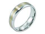 <b>Engravable</b> Chisel Cobalt 14k Gold Inlay Satin And Polished 6mm Weeding Band style: CC52