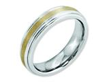 <b>Engravable</b> Chisel Cobalt 14k Gold Inlay Satin And Polished 6mm Wedding Band style: CC54