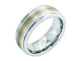 <b>Engravable</b> Chisel Cobalt 14k Gold Inlay Satin And Polished 8mm Wedding Band style: CC55
