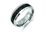 Chisel Cobalt Black Carbon Fiber Inlay 8mm Polished Weeding Band style: CC59