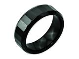 <b>Engravable</b> Chisel Ceramic Beveled Edge Black Faceted 8mm Polished Weeding Band style: CER10
