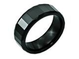 <b>Engravable</b> Chisel Ceramic Black Faceted 8mm Polished Beveled Edge Wedding Band style: CER14